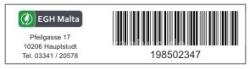 Aufkleber mit Barcode und Logo