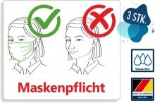 3 Stk. Aufkleber Maskenpflicht mit Piktogramm