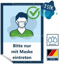 3 Stk. Aufkleber Bitte nur mit Maske eintreten