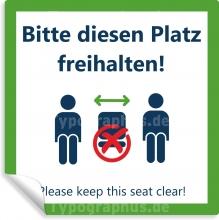 10 Stk. Aufkleber Hinweis Bitte diesen Platz freihalten Please keep this seat clear