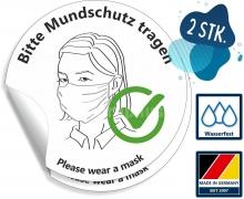 Aufkleber Hinweis Bitte Mundschutz tragen & Please wear a Mask - 2 Stück