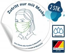 Maskenpflicht- Aufkleber Hinweis Zutritt nur mit Maske - 2 Stück