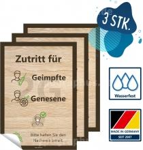 3er Pack Aufkleber Zutritt nur für Geimpfte und Genesene 2G