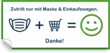 Aufkleber Zutritt nur mit Maske & Einkaufswagen
