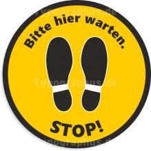 Fußbodenaufkleber STOP! Bitte hier warten. Gelb Schwarz