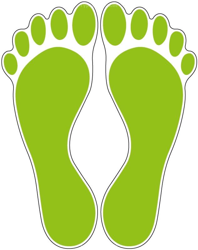 Fußbodenaufkleber Fußabdruck Hellgrün M102