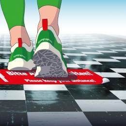Bodenaufkleber Abstand halten für Glatte Böden wie Fliesen, PVC usw.