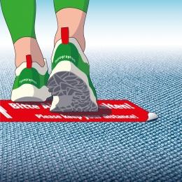 Bodenaufkleber Abstand halten für Teppichboden